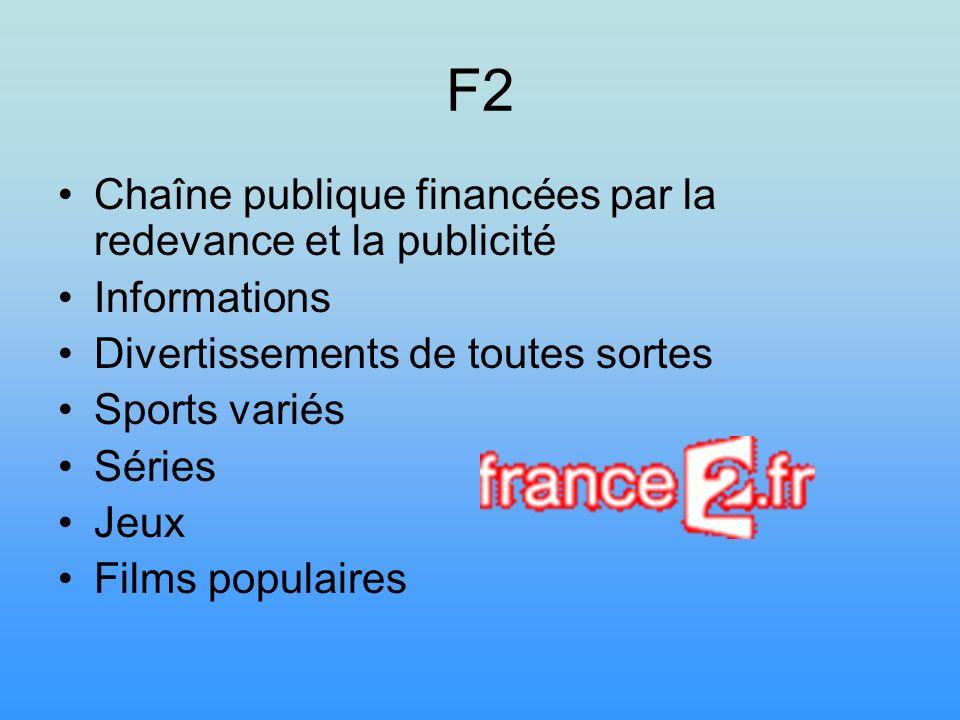 F3 Chaîne publique financée par la redevance et la publicité Emissions plus culturelles Emissions régionales Infos nationales et régionales Films plus culturels Sports Divertissements