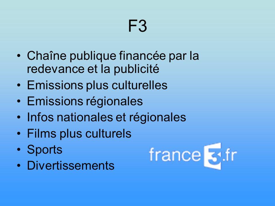 F3 Chaîne publique financée par la redevance et la publicité Emissions plus culturelles Emissions régionales Infos nationales et régionales Films plus