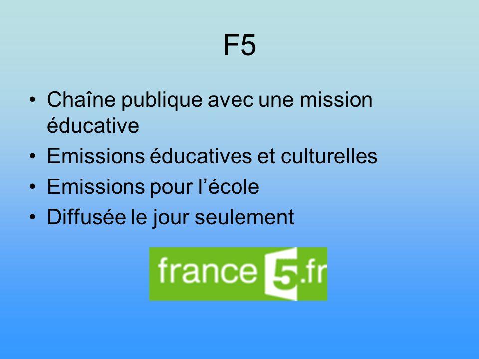 F5 Chaîne publique avec une mission éducative Emissions éducatives et culturelles Emissions pour lécole Diffusée le jour seulement