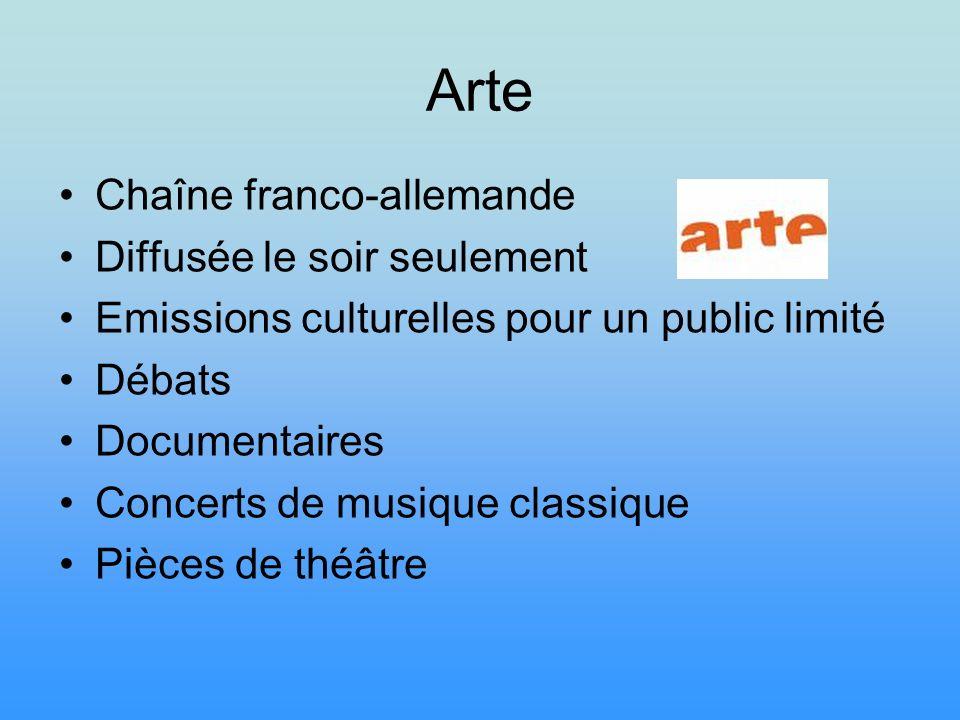Arte Chaîne franco-allemande Diffusée le soir seulement Emissions culturelles pour un public limité Débats Documentaires Concerts de musique classique