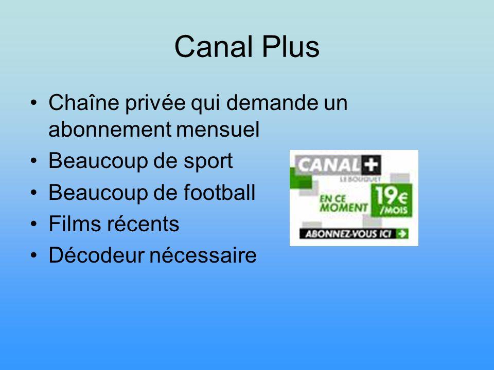 Canal Plus Chaîne privée qui demande un abonnement mensuel Beaucoup de sport Beaucoup de football Films récents Décodeur nécessaire