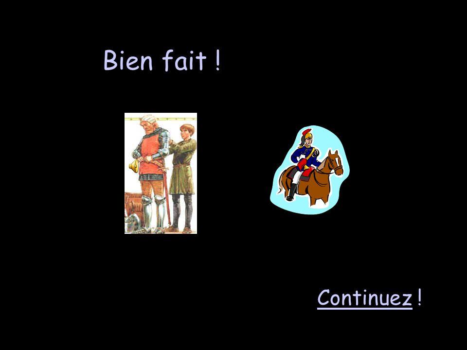Vocabulaire 2 - 200 Un écuyer travaille avec… les chevaux du château. les femmes du château. les charpentiers du château. les troubadours du château.