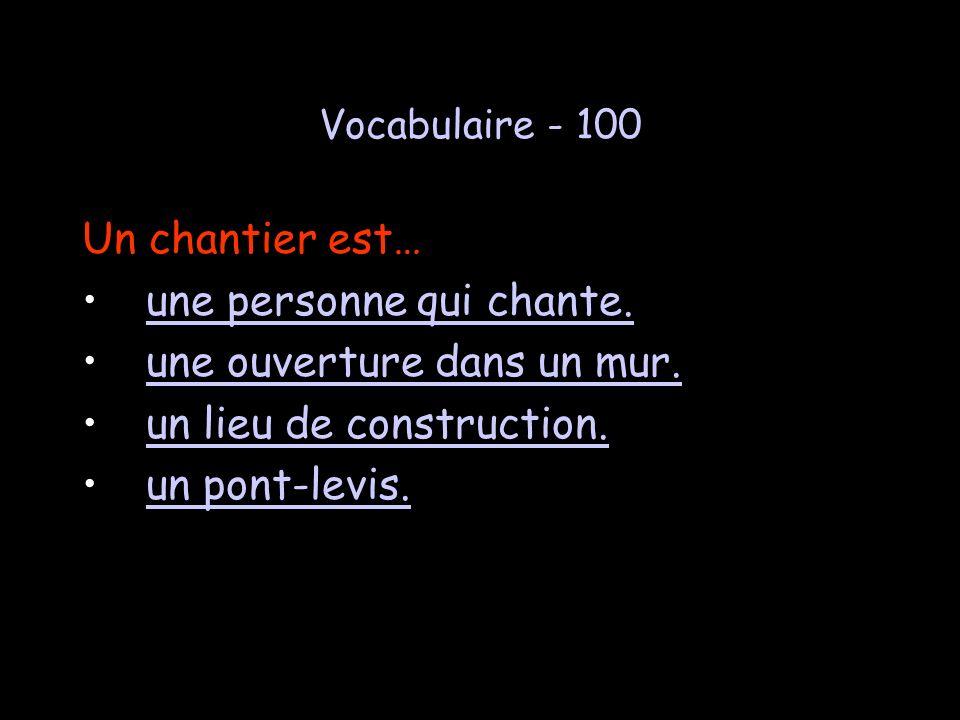 Jeopardy Vocab Vocab2Châteaux Châteaux Lecture 100 100 100 100 100 100 200 200 200 200 200200 300 300 300 300 300300 400 400 400 400 400400