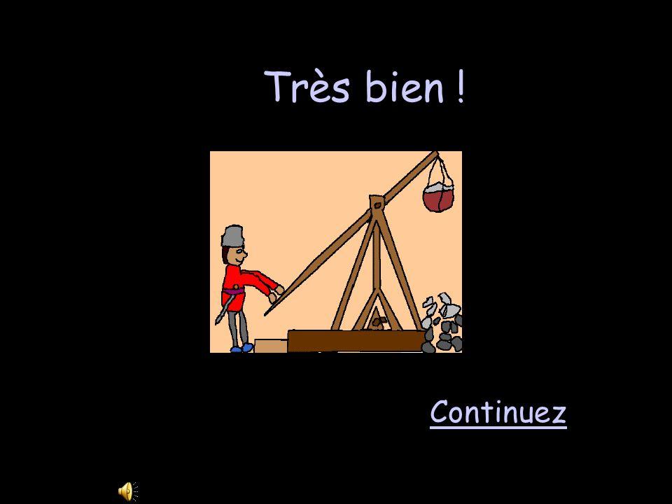 Vocabulaire 2 - 400 Un engin qui lance de lourds boulets de pierre à un château sappelle… une guillotine une meurtrière une tour un trébuchet