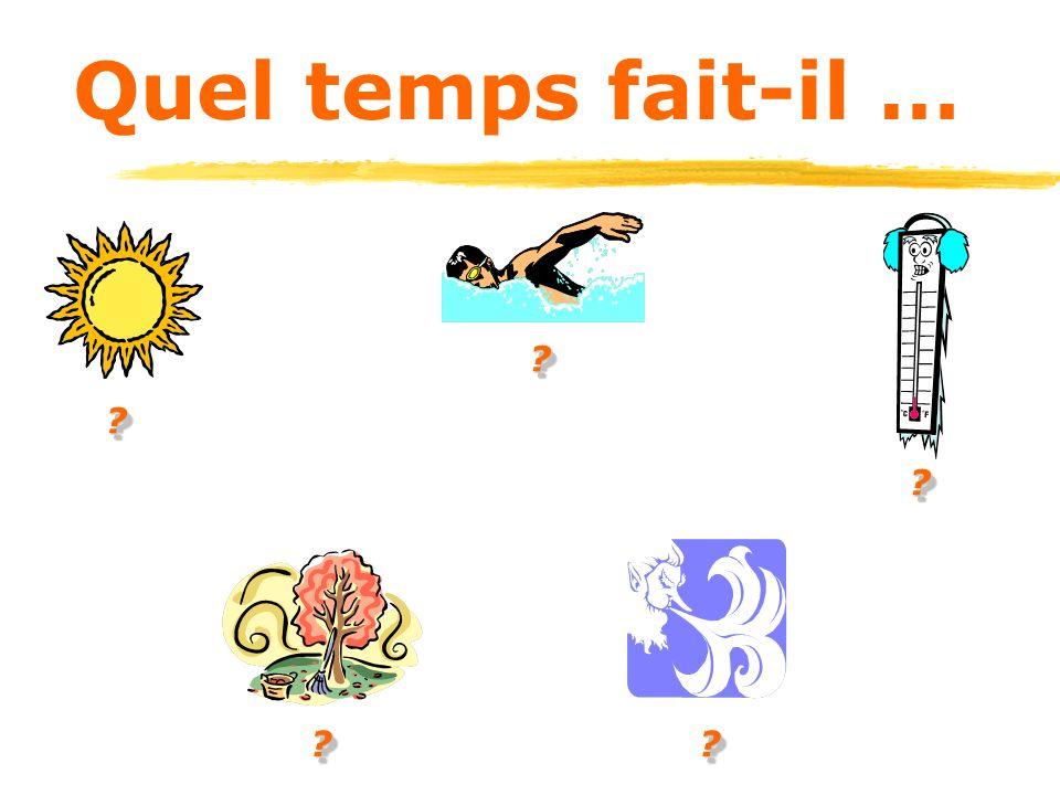 Quelle est la temperature? Il fait+num é rod é gres+ Il fait 95 d é gres Farenheit. (Il fait 35 d é gres Centigrades.) Il fait 32 d é gres Farenheit.