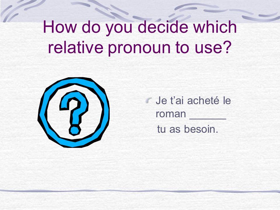How do you decide which relative pronoun to use? Je tai acheté le roman ______ tu as besoin.