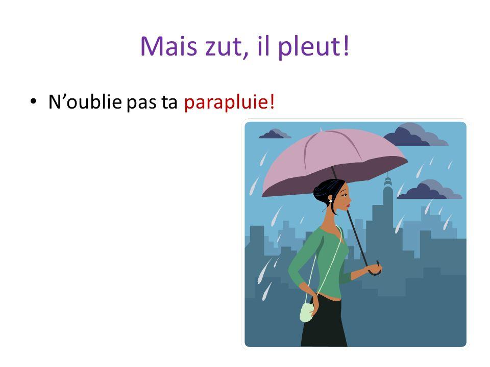 Mais zut, il pleut! Noublie pas ta parapluie!
