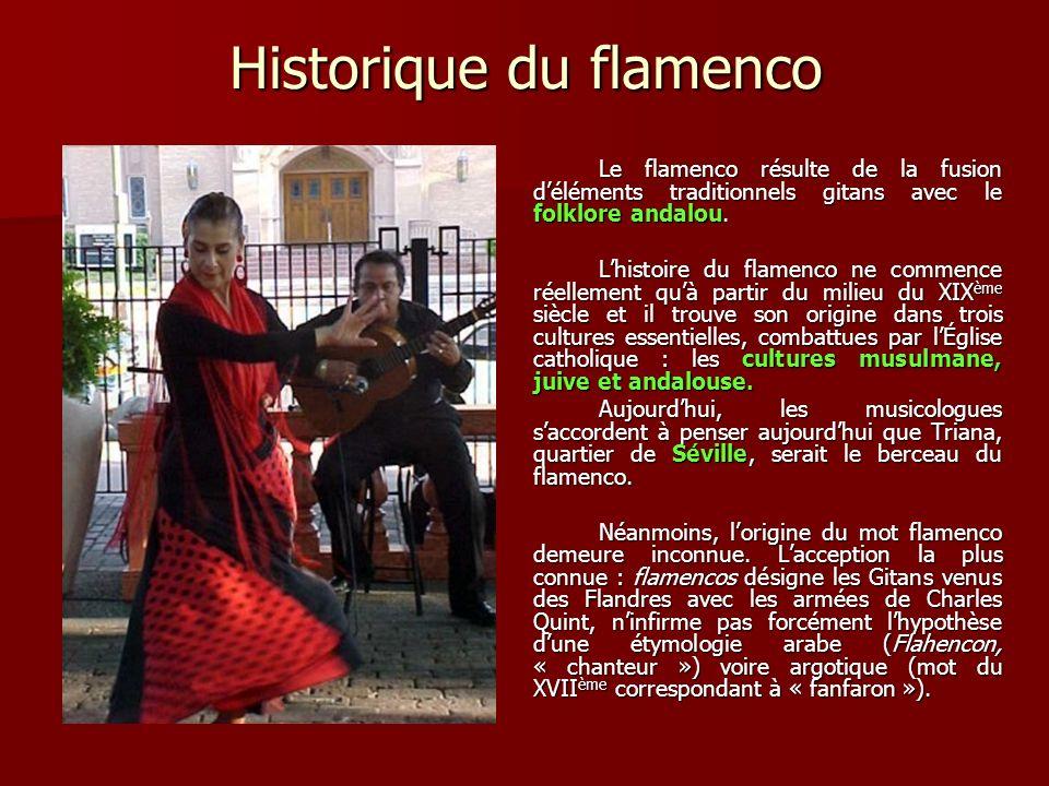 Historique du flamenco Le flamenco résulte de la fusion déléments traditionnels gitans avec le folklore andalou.