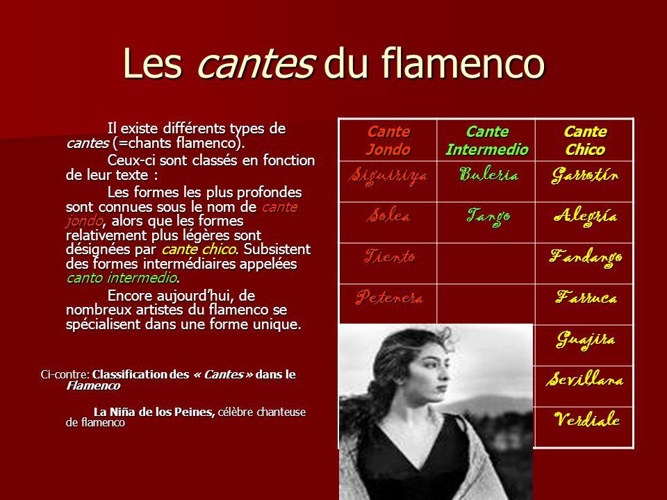 Les cantes du flamenco Il existe différents types de cantes (=chants flamenco).