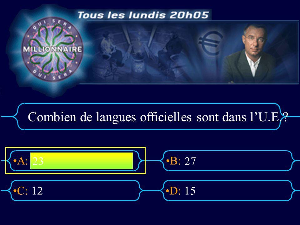 A:B: D:C: Combien de langues officielles sont dans lU.E.? 1215 23 27