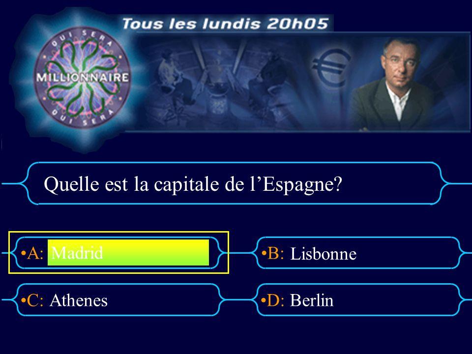 A:B: D:C: Quelle est la capitale de lEspagne? AthenesBerlin Madrid Lisbonne