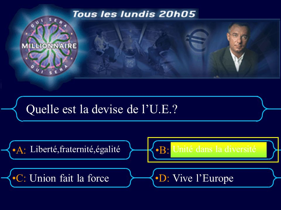 A:B: D:C: Quelle est la devise de lU.E..