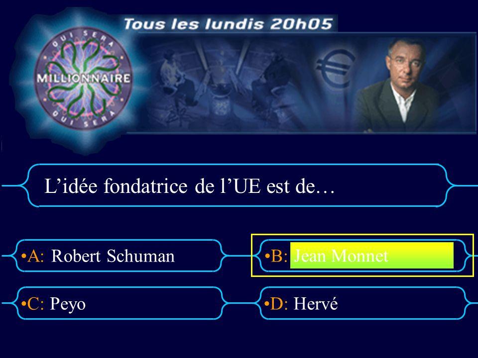 A:B: D:C: Lidée fondatrice de lUE est de… Robert Schuman PeyoHervé Jean Monnet