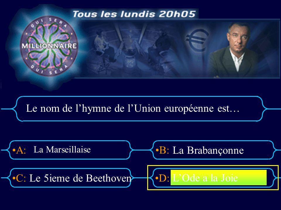 A:B: D:C: Le nom de lhymne de lUnion européenne est… Le 5ieme de Beethoven La Brabançonne LOde a la Joie La Marseillaise