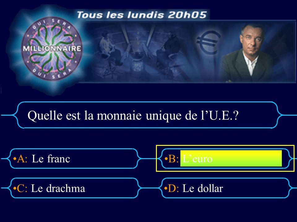 A:B: D:C: Quelle est la monnaie unique de lU.E.? Le franc Le drachmaLe dollar Leuro