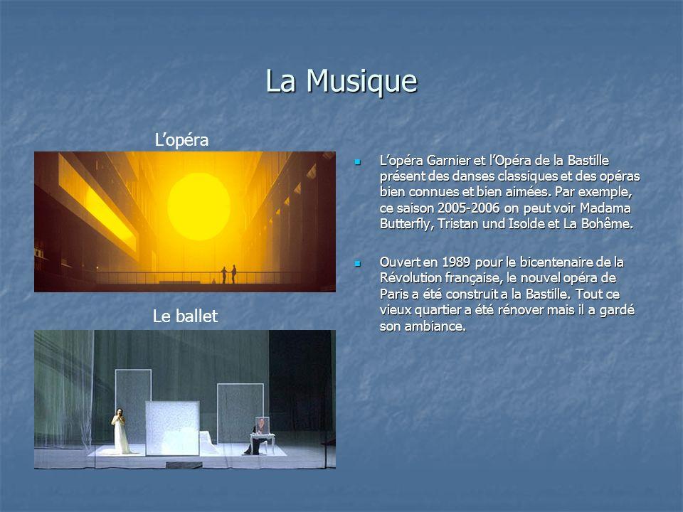 La Musique Lopéra Garnier et lOpéra de la Bastille présent des danses classiques et des opéras bien connues et bien aimées. Par exemple, ce saison 200