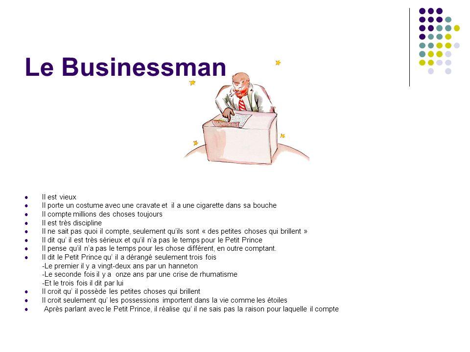 Le Businessman Il est vieux Il porte un costume avec une cravate et il a une cigarette dans sa bouche Il compte millions des choses toujours Il est tr
