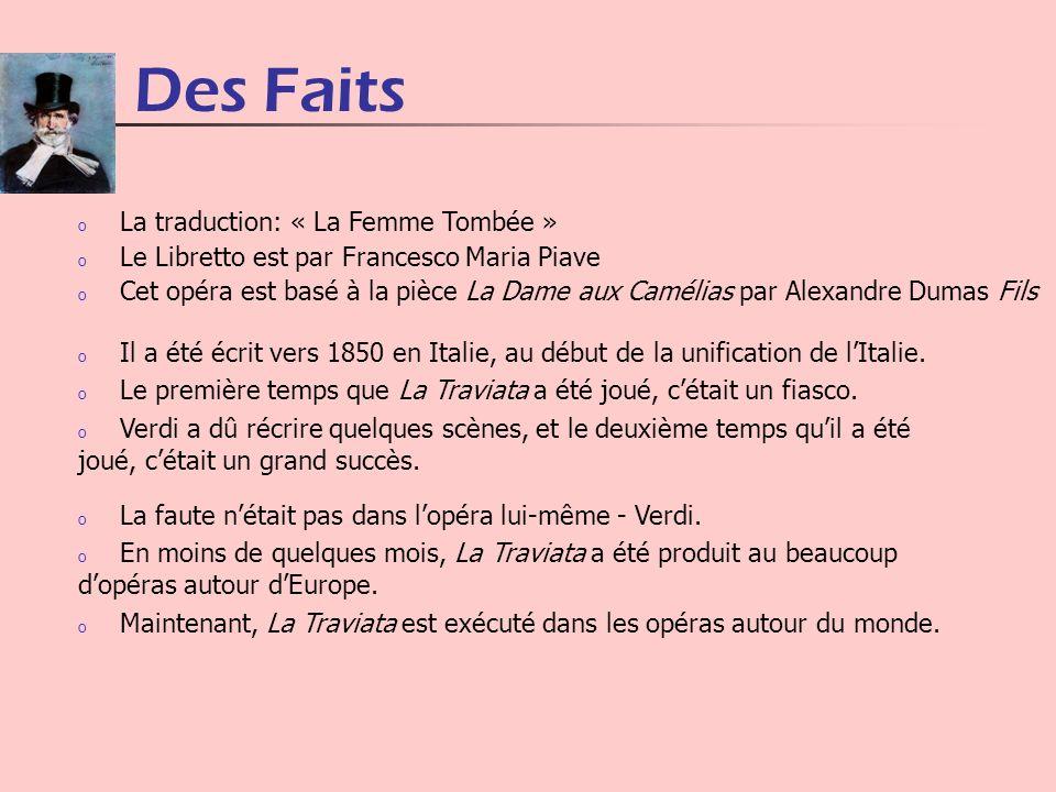 Des Faits o La faute nétait pas dans lopéra lui-même - Verdi. o En moins de quelques mois, La Traviata a été produit au beaucoup dopéras autour dEurop