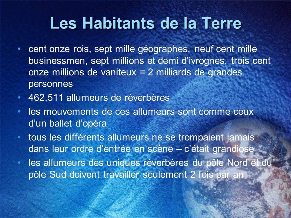Les Habitants de la Terre cent onze rois, sept mille géographes, neuf cent mille businessmen, sept millions et demi divrognes, trois cent onze million