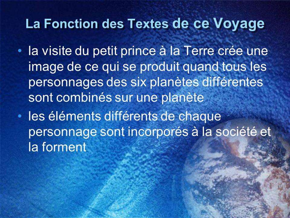 La Fonction des Textes de ce Voyage la visite du petit prince à la Terre crée une image de ce qui se produit quand tous les personnages des six planèt