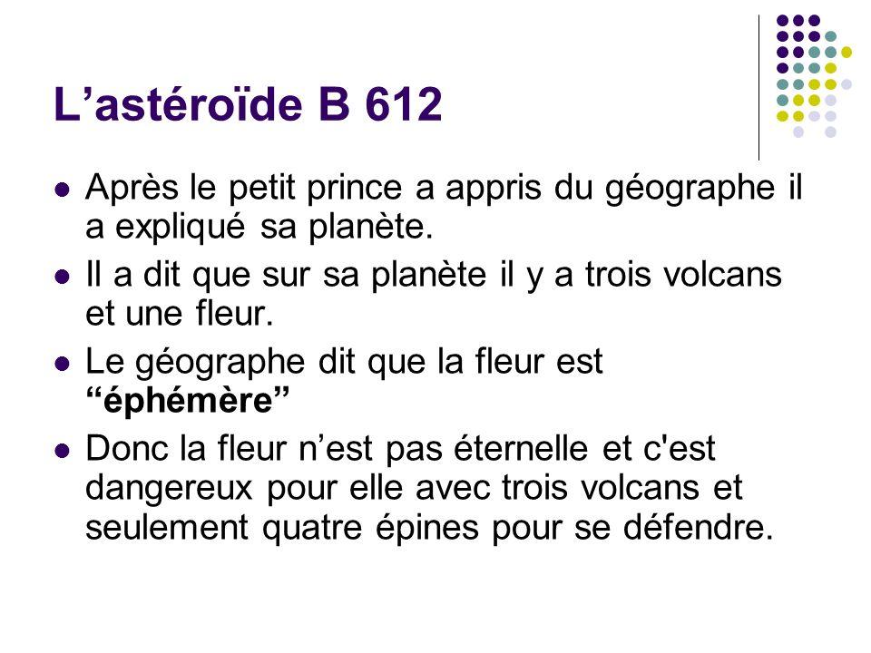 Lastéroïde B 612 Après le petit prince a appris du géographe il a expliqué sa planète. Il a dit que sur sa planète il y a trois volcans et une fleur.