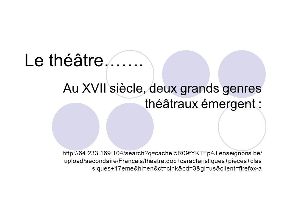 Le théâtre……. Au XVII siècle, deux grands genres théâtraux émergent : http://64.233.169.104/search?q=cache:5R09tYKTFp4J:enseignons.be/ upload/secondai