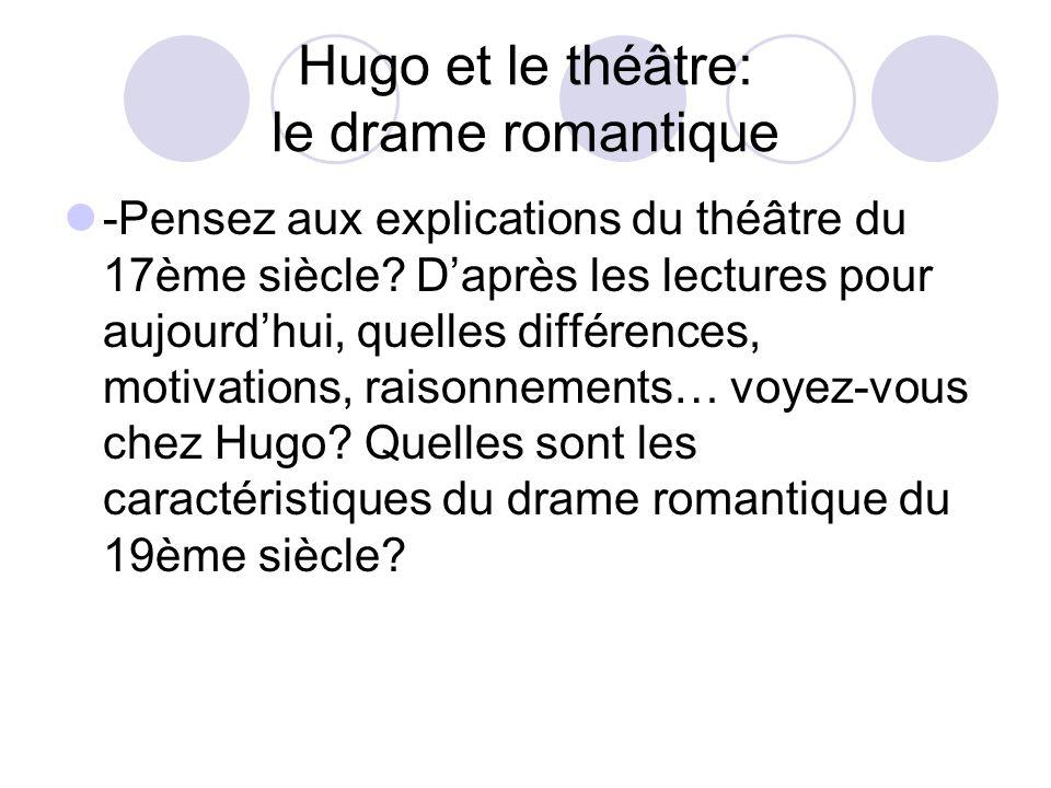 Hugo et le théâtre: le drame romantique -Pensez aux explications du théâtre du 17ème siècle? Daprès les lectures pour aujourdhui, quelles différences,