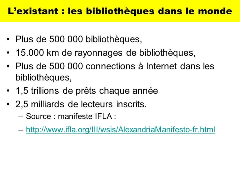 Lexistant : les bibliothèques dans le monde Plus de 500 000 bibliothèques, 15.000 km de rayonnages de bibliothèques, Plus de 500 000 connections à Int