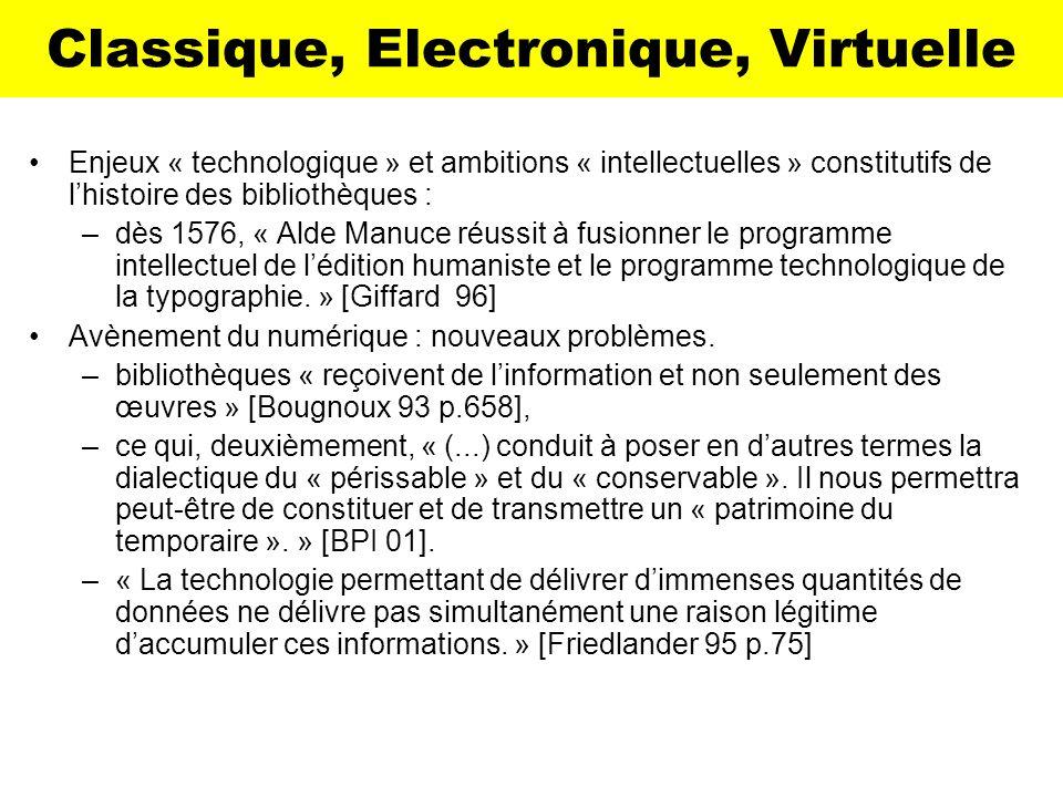 Classique, Electronique, Virtuelle Enjeux « technologique » et ambitions « intellectuelles » constitutifs de lhistoire des bibliothèques : –dès 1576,