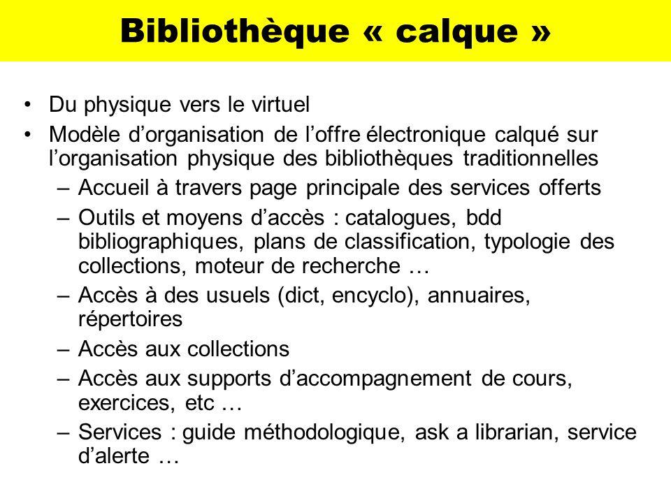 Bibliothèque « calque » Du physique vers le virtuel Modèle dorganisation de loffre électronique calqué sur lorganisation physique des bibliothèques tr