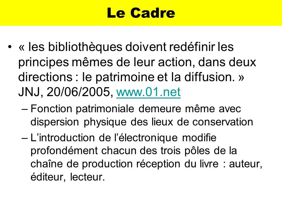 Le Cadre « les bibliothèques doivent redéfinir les principes mêmes de leur action, dans deux directions : le patrimoine et la diffusion. » JNJ, 20/06/
