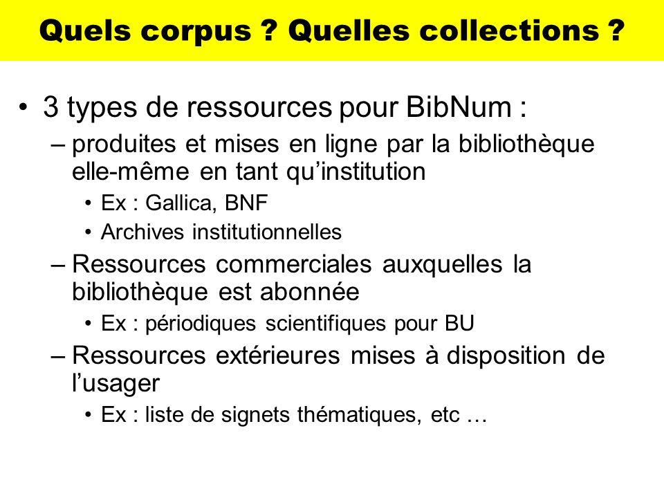Quels corpus ? Quelles collections ? 3 types de ressources pour BibNum : –produites et mises en ligne par la bibliothèque elle-même en tant quinstitut
