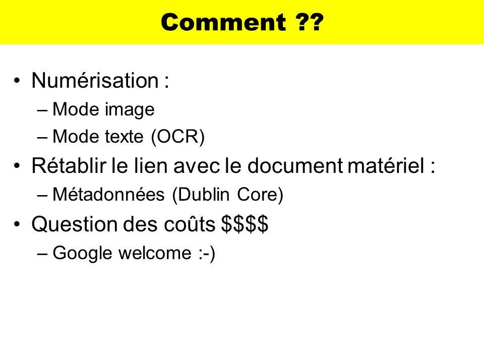 Comment ?? Numérisation : –Mode image –Mode texte (OCR) Rétablir le lien avec le document matériel : –Métadonnées (Dublin Core) Question des coûts $$$