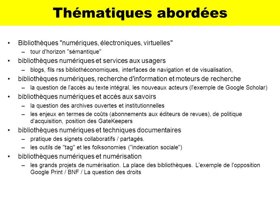 Exemple de métadonnées <meta name= DC.title content= Répertoire des bibliothèques médicales francophones > <meta name= DC.subject.keywords content= (SCHEME=MeSH)bibliothèque médicale; medical library > <link rel= schema.mesh href http://www.nlm.nih.gov/mesh/meshhome.html > <link rel= schema.cismef href= http://www.chu-rouen.fr/documed/typeressource.html > Indexation & internet : DublinCore