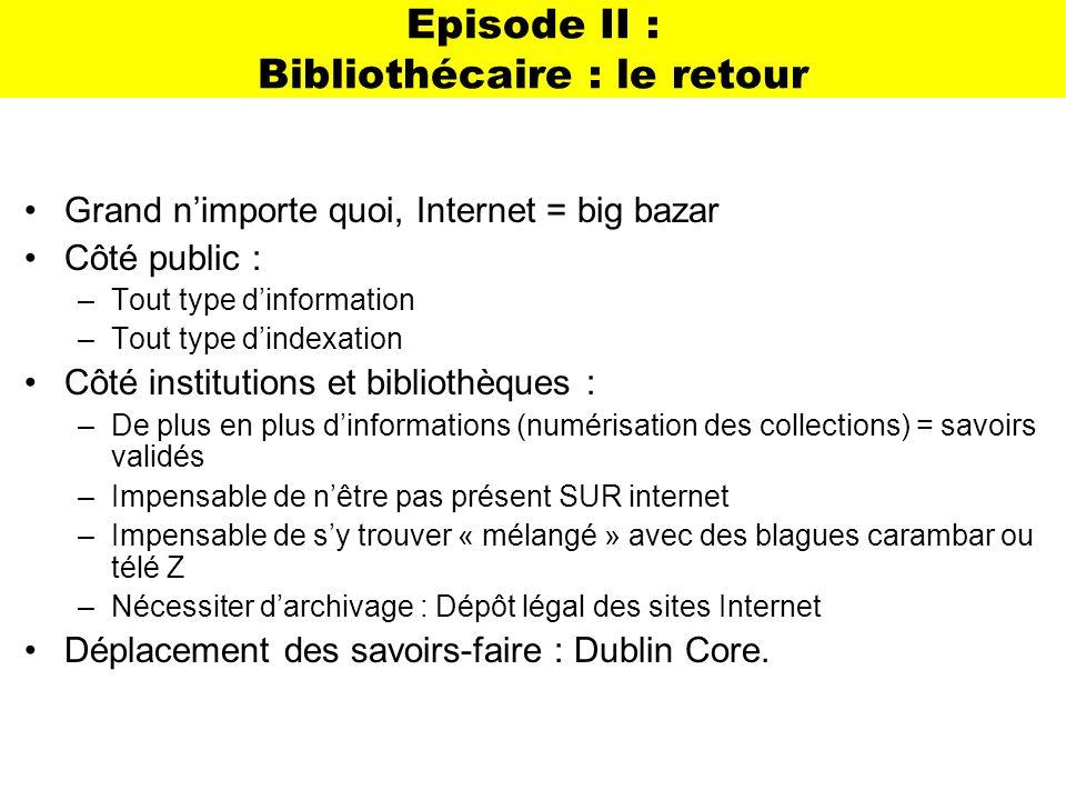 Episode II : Bibliothécaire : le retour Grand nimporte quoi, Internet = big bazar Côté public : –Tout type dinformation –Tout type dindexation Côté in