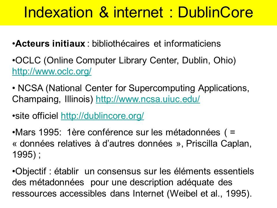 Acteurs initiaux : bibliothécaires et informaticiens OCLC (Online Computer Library Center, Dublin, Ohio) http://www.oclc.org/ http://www.oclc.org/ NCS