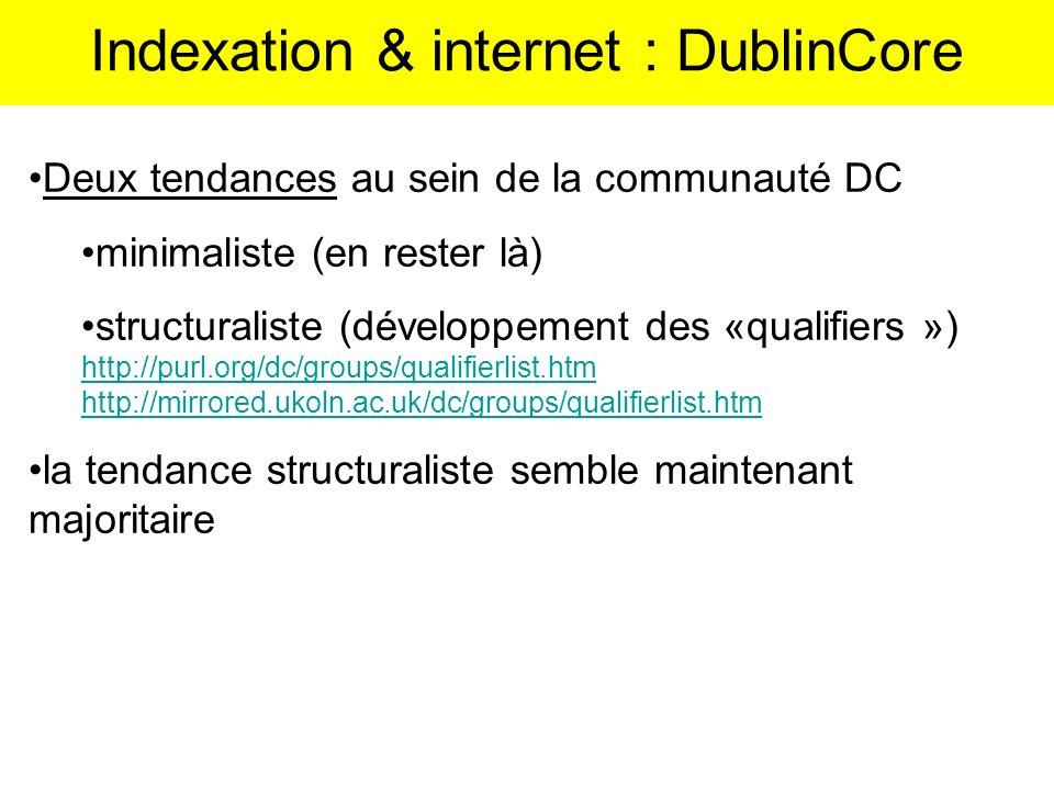 Deux tendances au sein de la communauté DC minimaliste (en rester là) structuraliste (développement des «qualifiers ») http://purl.org/dc/groups/quali