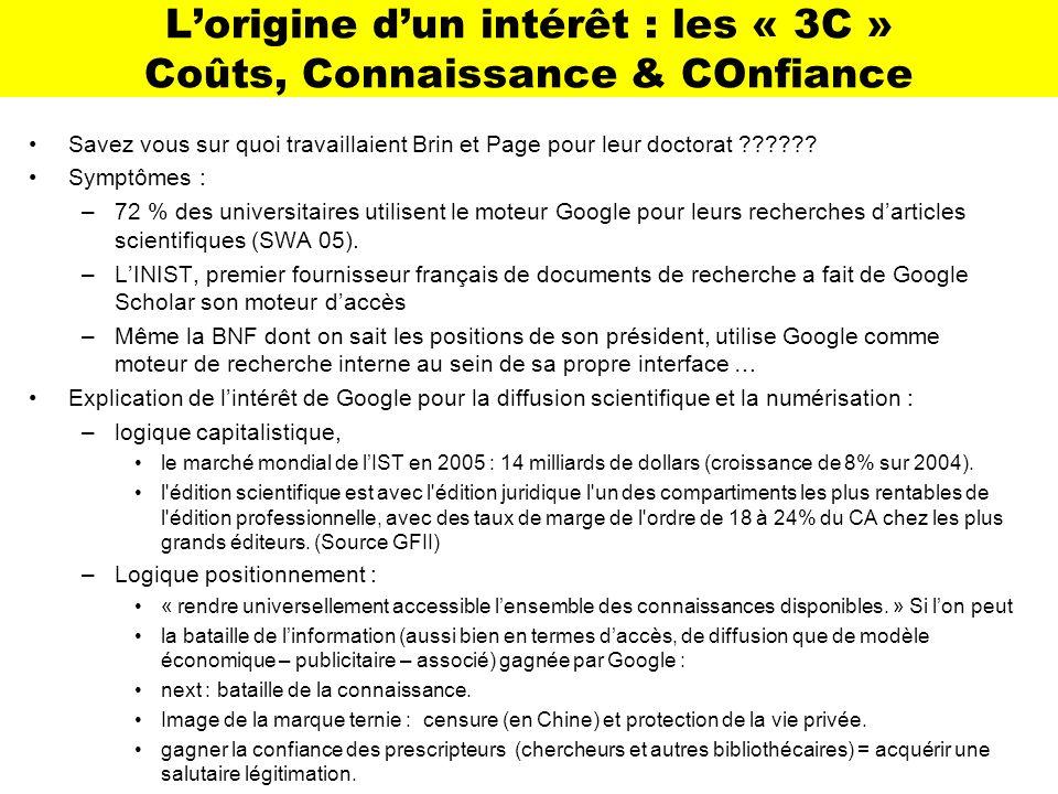 Lorigine dun intérêt : les « 3C » Coûts, Connaissance & COnfiance Savez vous sur quoi travaillaient Brin et Page pour leur doctorat ?????? Symptômes :