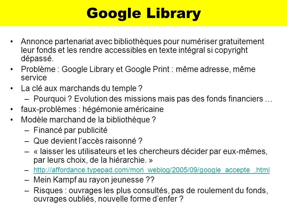 Google Library Annonce partenariat avec bibliothèques pour numériser gratuitement leur fonds et les rendre accessibles en texte intégral si copyright