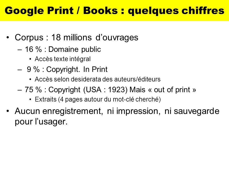 Google Print / Books : quelques chiffres Corpus : 18 millions douvrages –16 % : Domaine public Accès texte intégral – 9 % : Copyright. In Print Accès