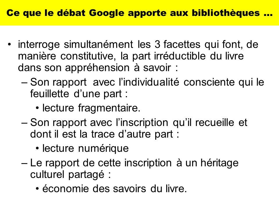 Ce que le débat Google apporte aux bibliothèques … interroge simultanément les 3 facettes qui font, de manière constitutive, la part irréductible du l