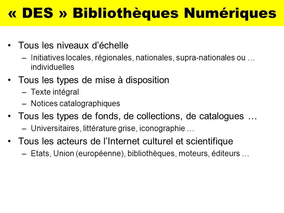 « DES » Bibliothèques Numériques Tous les niveaux déchelle –Initiatives locales, régionales, nationales, supra-nationales ou … individuelles Tous les