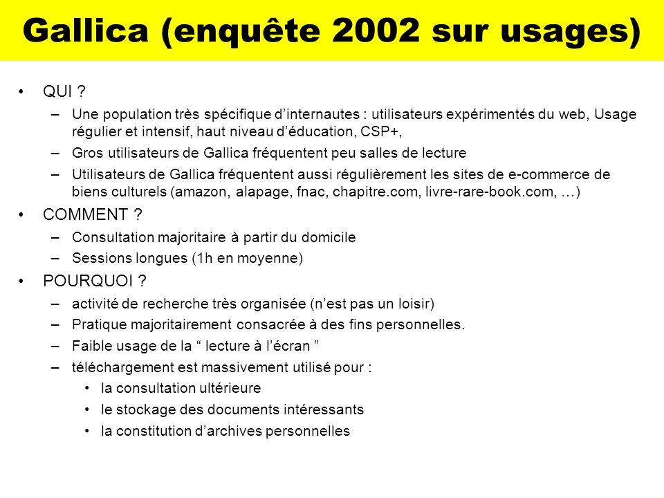 Gallica (enquête 2002 sur usages) QUI ? –Une population très spécifique dinternautes : utilisateurs expérimentés du web, Usage régulier et intensif, h