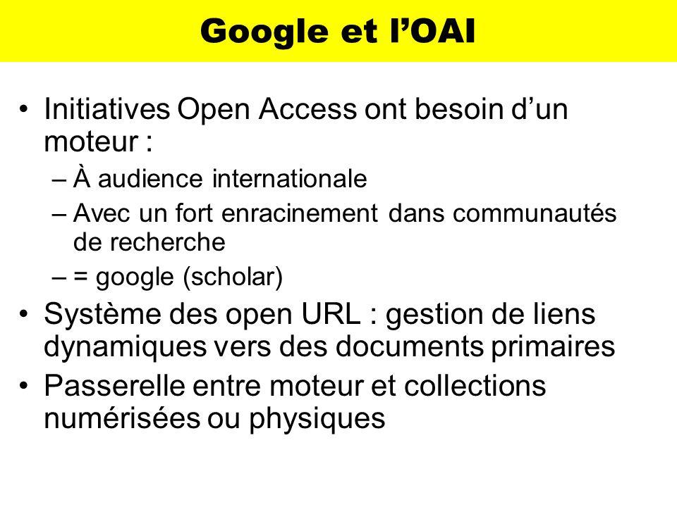 Google et lOAI Initiatives Open Access ont besoin dun moteur : –À audience internationale –Avec un fort enracinement dans communautés de recherche –=