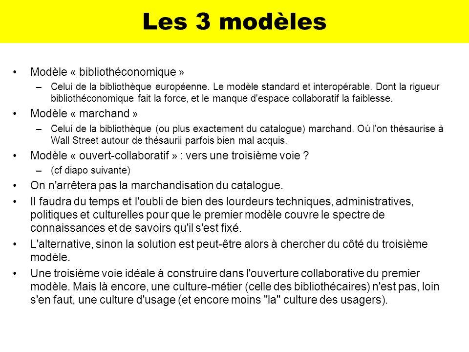 Les 3 modèles Modèle « bibliothéconomique » –Celui de la bibliothèque européenne. Le modèle standard et interopérable. Dont la rigueur bibliothéconomi