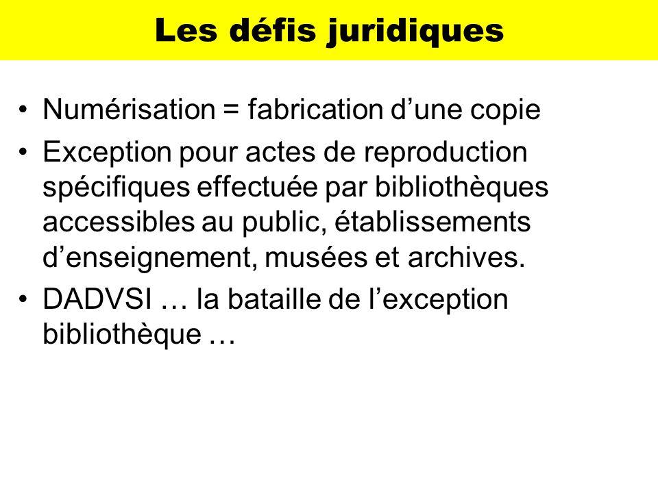 Les défis juridiques Numérisation = fabrication dune copie Exception pour actes de reproduction spécifiques effectuée par bibliothèques accessibles au