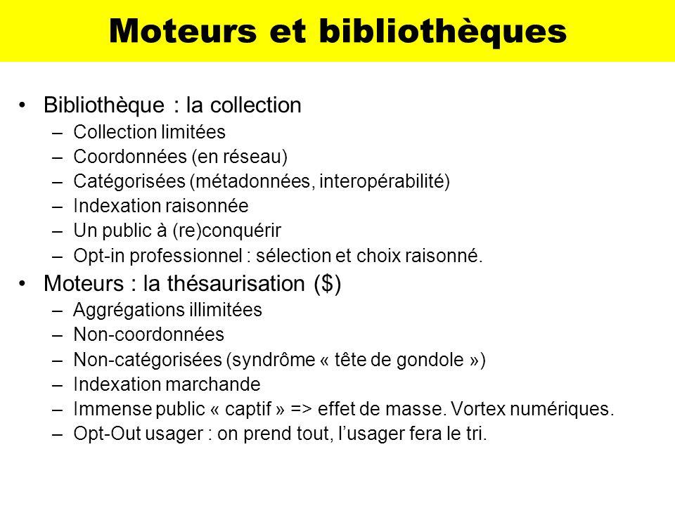 Moteurs et bibliothèques Bibliothèque : la collection –Collection limitées –Coordonnées (en réseau) –Catégorisées (métadonnées, interopérabilité) –Ind