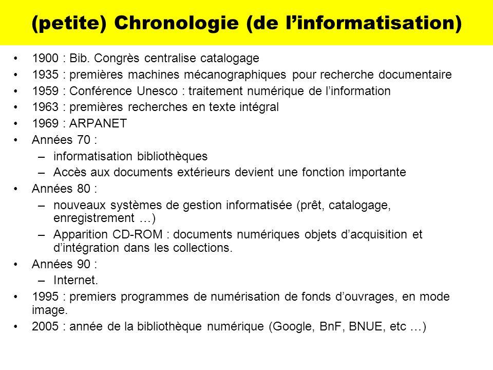 (petite) Chronologie (de linformatisation) 1900 : Bib. Congrès centralise catalogage 1935 : premières machines mécanographiques pour recherche documen