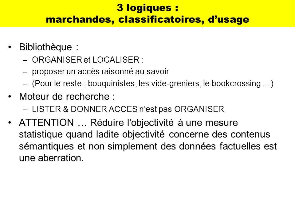 3 logiques : marchandes, classificatoires, dusage Bibliothèque : –ORGANISER et LOCALISER : –proposer un accès raisonné au savoir –(Pour le reste : bou