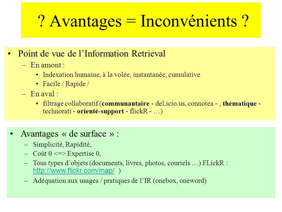 ? Avantages = Inconvénients ? Point de vue de lInformation Retrieval –En amont : Indexation humaine, à la volée, instantanée, cumulative Facile / Rapi